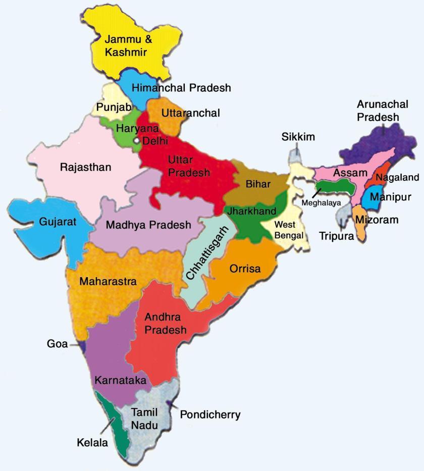 Cartina India Hd.India Mappa Geografica Con Gli Stati 1 La Porta Della Condivisione